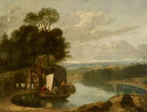 Three Boys In A Sailing Boat On A Lake With Durham