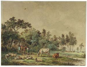 A Wooded Landscape With Peasants And Cattle By A Farm