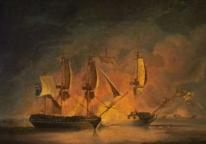 Action At Sea - An English And A French Frigate Engaging