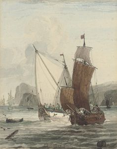 An Armed Yacht And Small Traders In Coastal Waters