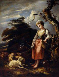 A Shepherdess And Sheep