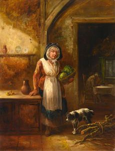 Scotswoman With Cabbages, In A Cottage Interior