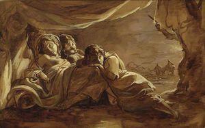 Three Girls Asleep Under A Tent - Morning
