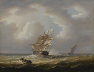 A British Frigate Hove-to With Her Jollyboat Preparing To Pluck A Man From The Sea