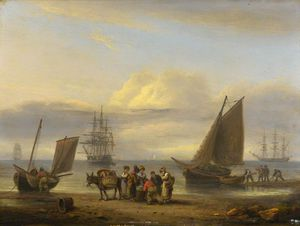 Coast Scene With Shipping And Figures