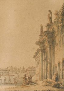 A Capriccio Palace With Temple And Two Figures In The Foreground