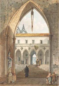 The Interior Of A Gothic Monastery Seen Through An Arch