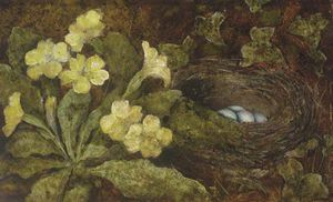 A Primula And A Bird's Nest On A Mossy Bank