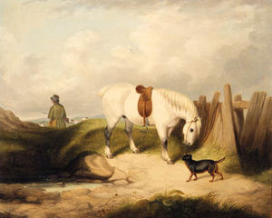 A Gamekeeper With A Grey Pony And A Dog In A Landscape