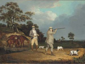 Gentleman Shooting Partridge, With Pointers In A Landscape