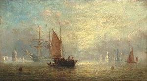 Fishermen Unloading At Dusk, With A Frigate At Anchor Beyond