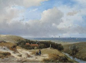 A Panoramic Summer Landscape With Travellers Resting In The Dunes