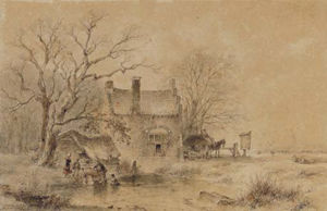 A Winter Landscape With Figures By A Frozen Pond, A Village In The Distance