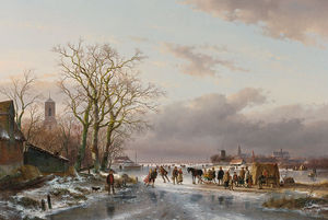 Numerous Skaters And A Horse-sledge By A Refreshment Stall