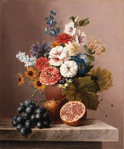 Flowers In A Vase With Grapes And Pomegranates On A Stone Ledge