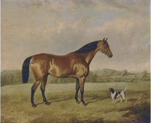 A Bay Hunter With A Terrier In An Extensive Landscape