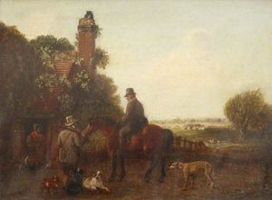 Two Sportsmen Outside A Cottage, One On Horseback, With Dogs