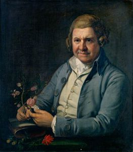 William Aiton, Holding A Plant (species Of Aitonia) In His Right Hand And A Hand Lens In His Left