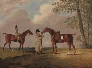 Two Gentlemen With Their Hunters, In An Extensive Landscape