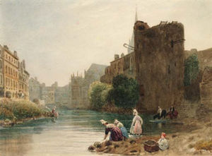 Women Washing Clothes In A French Town River