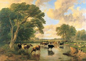 Cattle On The Banks Of A River