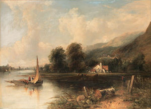 An Extensive Wooded River Landscape With Fishermen In The Foreground And Cattle And A Cottage Beyond