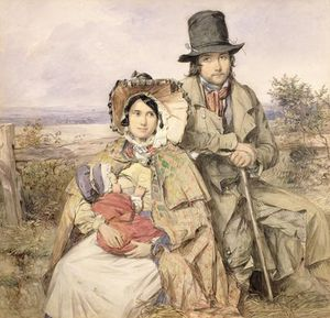 A Family Seated At A Roadside