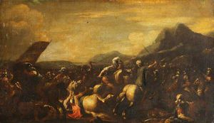 Battle Scene With Horsemen And Foot Soldiers