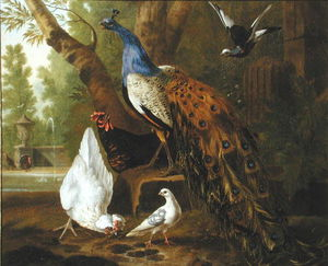 An Assembly Of Birds In A Classical Park,