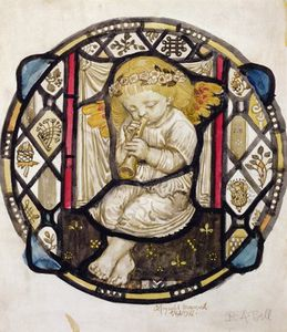 Stained Glass Design Of Putto Playing The Flute