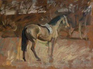 A Bay Horse In A Landscape -