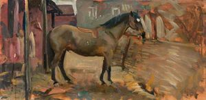 A Bay Horse In A Stable -
