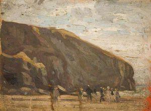 Figures On A Beach Below Cliffs