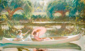 la canoa blanca en el Stour a Dedham