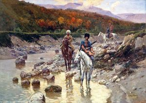 Cossacks In A Mountain River