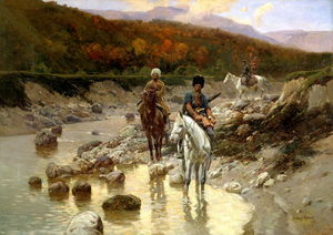 Cossacks In The Mountain River