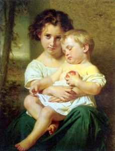 Young Girl Holding A Sleeping Baby