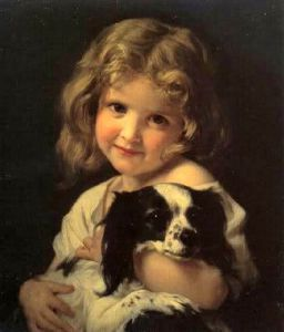 Young girl with spaniel