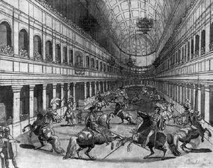 Horse Riders In The Reitschule In Wien
