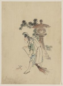 A Man Sweeping Pine Needles That Have Fallen From A Tree Near A Stone Shrine