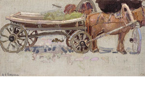 Horse And Wagon With Yoke