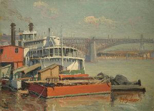Paddle Steamer Mark Twain, Mississippi River Eads Bridge At St. Louis