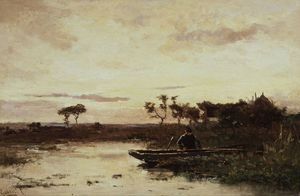 Polderlandscape With Fisherman