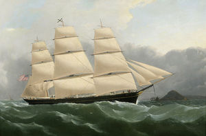 Clipper Ship Challenge Arriving off the Coast of England Under Full Sail