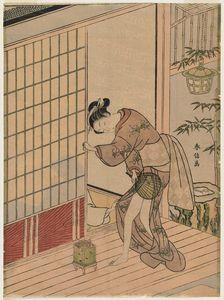 Man Behind A Sliding Door Pulling The Kimono Of A Woman On The Veranda