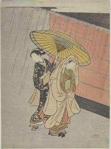 двух девушек в  тем  дождь