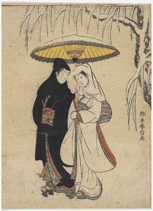 Young Lovers Walking Together Under An Umbrella In A Snow Storm