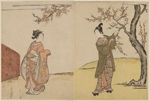 Young Man And Woman Under A Peach Tree