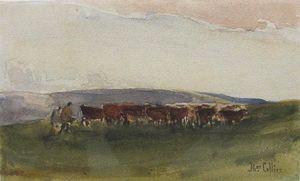 Les bovins et les Drovers On A Moorland