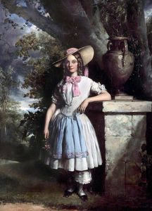 A Girl Standing By A Pedestal